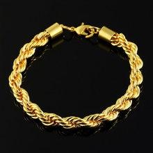 Витая звеньевая цепочка браслеты золотого цвета для мужчин и