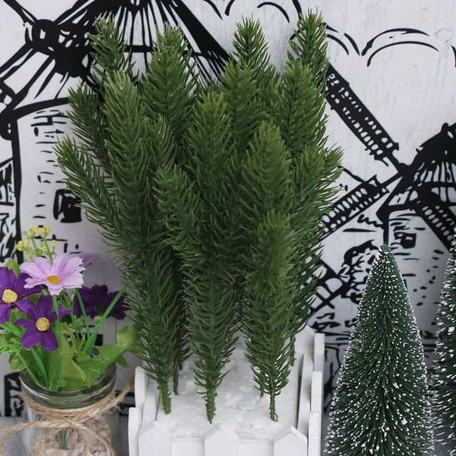 10pcs Artificial Flower Fake Plants Pine Branches Christmas Tree For