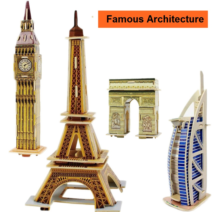 TOFOCO DIY Kids 3D Wooden Puzzle Jigsaw Model Famous Architecture The Eiffel Tower Assembling Kits Educational Toys For Children coeus 3d wooden puzzle the beautiful world the wedding chapel educational games for kids 3d puzzles for adults