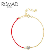 ROMAD Red Rope Bracelet Round Cubic Zircon Opal Charm Friendship Bracelets & Bangles for Women Wedding Party Jewelry Gift R4
