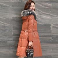 Для женщин из натуральной кожи пуховое пальто 207 новый овчины Теплые пальто зима меховой воротник лиса Мода P3463
