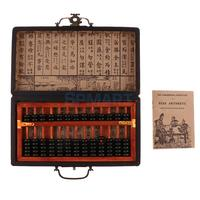 13 Rows Vintage Chinese Wooden Bead Arithmetic Abacus with Box Classic Ancient Calculator Counting Collection Gift Kids Toy
