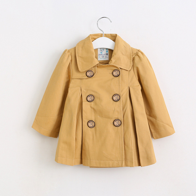 2016 Autumn Baby Girls double-breasted trench coat Princess Catch Fold Outerwear wholesale