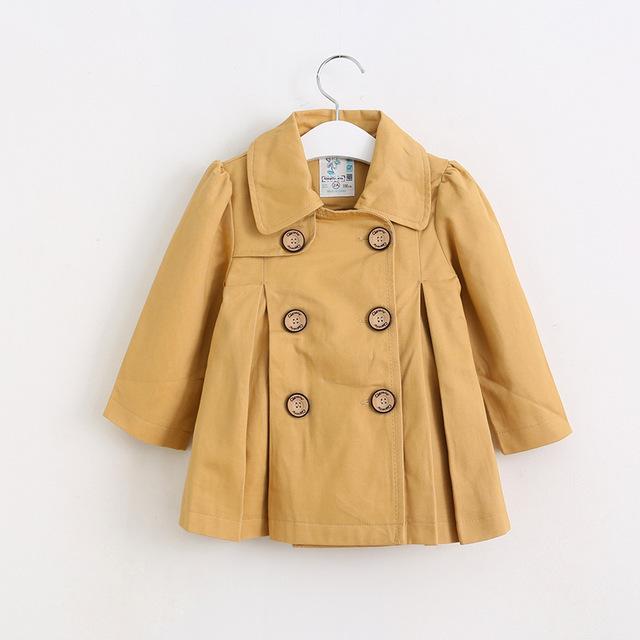 2016 Meninas Do Bebê Outono trespassado trench coat Princesa Vezes Captura Outerwear atacado