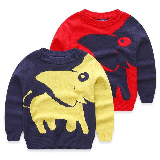 Девочка и мальчик пуловеры вязаные слон мультфильм свитера дети свитер для девочек детского мальчиков одежда тянуть гарсон enfant fille