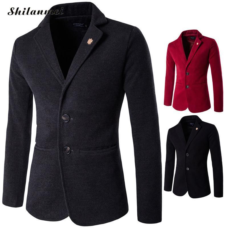 2018 Men Slim Fit Blazer Jackets Men Fashion Suit British's Style Autumn Male Suits Casual Long Sleeve Solid Masculine Blazer