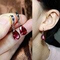 Sparkling Fashion Tear Drop Earrings CZ diamond Dangle Earrings Emerald Sapphire Blue Red Pink stone For Women Jewelry