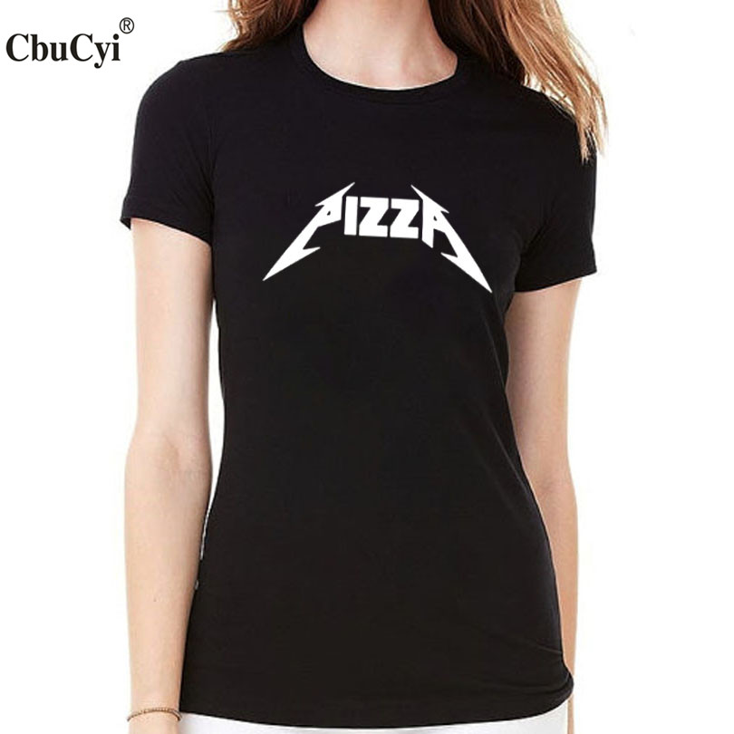 pizza rock t shirt women tops tee shirt femme fashion. Black Bedroom Furniture Sets. Home Design Ideas