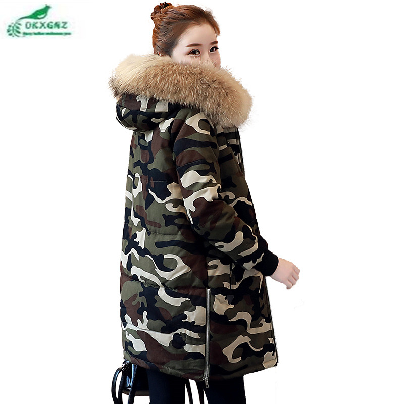 Camouflage feather cotton Outerwear female medium long winter new thickening warm casual large size font b