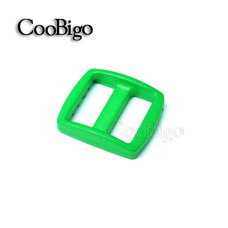 """10 шт Упаковка многоцветные пластиковые изогнутые Tri Glide 3/""""(20 мм) слайдер лямки регулировать пряжки широкий стиль походный рюкзак ремни - Цвет: Green"""