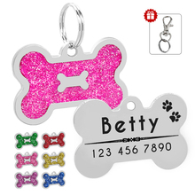 Glitter Personalized Dog ID Tag Customized Bone Shape Name Tag Plate Pet Dog Accessories Collar Decoration Pink Red