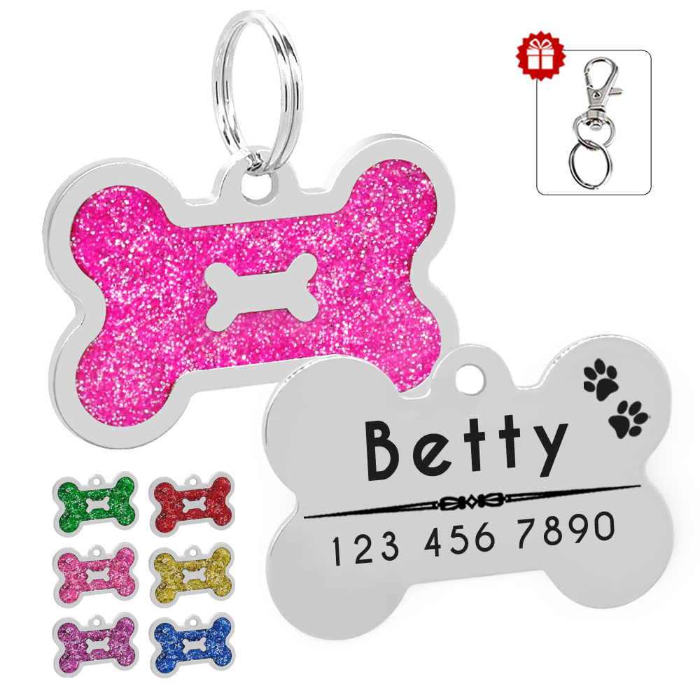 Glitter Personalized Dog ID Tag Customized Bone Shape Name Tag Plate font b Pet b font