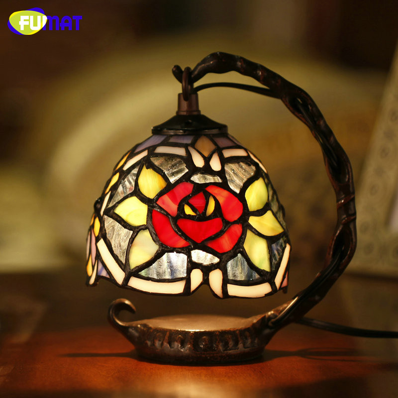 FUMAT Glass Art Lights Tiffany Stained Glass Table Lamp Restaurant Caffee Bar Deco Lampe Warm Living Room Bedside Table Lamps fumat classic table lamp european baroque stained glass lights for living room bedside table light creative art led table lamps
