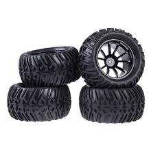 New 4PCS Wheel Rim & Tires For HSP 1:10 Monster Truck RC Car 12mm Hub FCI#