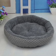 Hot Sale 2 Colors Round Soft Dog House Bed Striped Pet Cat And Dog Bed Grey /Red-Blue Size S M Pet Products 8in1 cat stain and odor exterminator nm jfc s