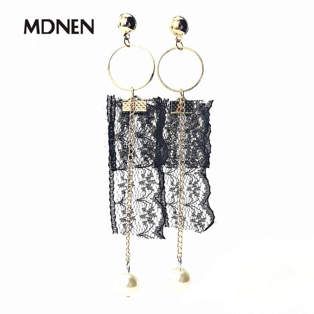 Drop Earrings Black Lace White Pearl Gold Geometric Trendy Alloy Dangle Earrings For Women