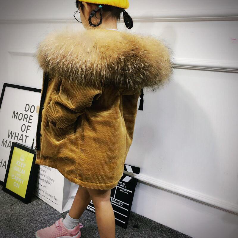 Зимняя модная детская парка кролик Меховая подкладка Обувь для девочек Меховая куртка одежда енота меховой воротник Дети Обувь для мальчик...