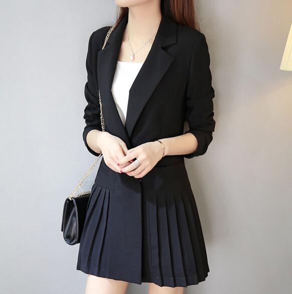 2016 Nova Primavera Elegante das Mulheres Fino Terno Blazer Sólida Outono Senhoras Novo Ocasional de médio-longo terno blazer jaqueta