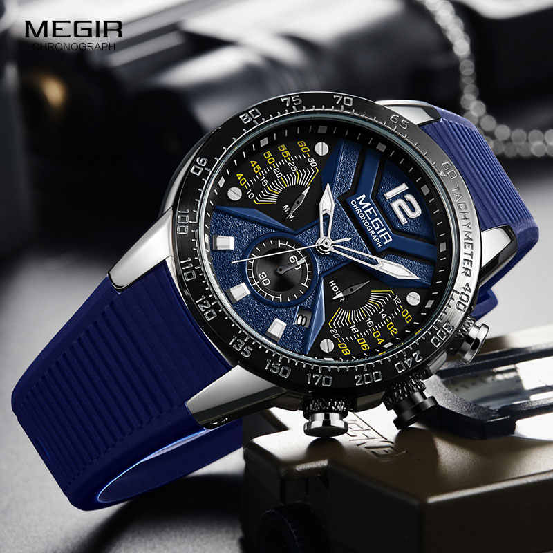 MEGIR ספורט הכרונוגרף קוורץ שעונים לגברים סיליקון רצועת Wateproof זוהר שעוני יד איש Relogios Masculino 2106 כחול