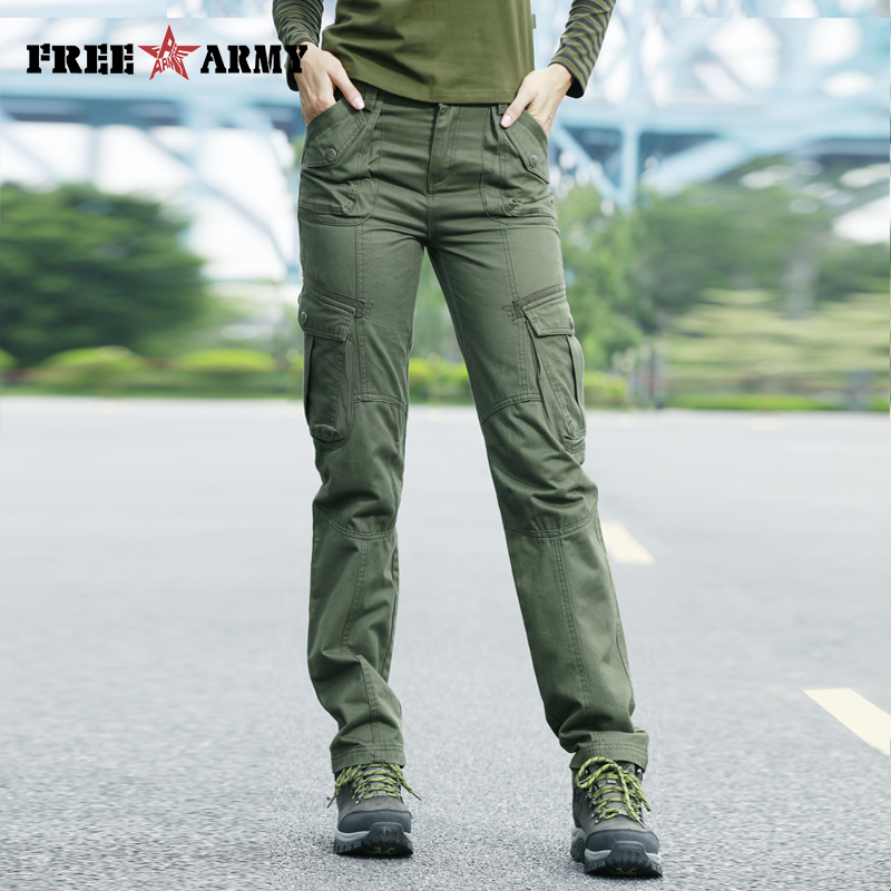 FreeArmy Brand Autumn Pants For Women Army Pants Military Sweatpants Pockets Cargo Pants Straight Trousers Women's Clothing