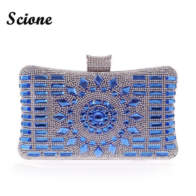 Diamante-tachonado Mujeres de Cristal Noche Bolsa de Embrague Bolsa Azul Rhinest