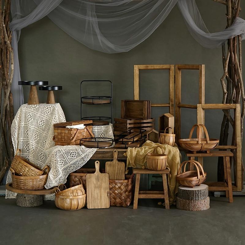 Wood Storage Racks Picnic Basket Cake Stand Forest Style Home Showcase Decoration Holders Kitchen& Bar Dessert Table