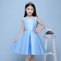 royal princess dress back deep V-neck ball gown girls pageant dress for wedding perform beading sleeveless flower girl dresses
