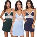 Плюс Размер Глубокий V Шеи Кружева Лоскутное Ночные Рубашки Мини-Платье Женщины Сексуальное Женское Белье Бретели Тонкий Lounge Трусы Теннис Женщина Для