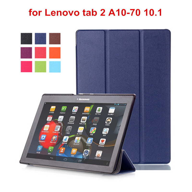 For Lenovo Tab2 A10 70 Case Cover for Lenovo Tab 2 A10-70F A10-70L A10-30 X30F Tablet 10.1 PU Leather Coque Case+Film+Stylus Pen for lenovo tab 2 a7 30 2015 tablet pc protective leather stand flip case cover for lenovo a7 30 screen protector stylus pen