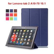 Para Lenovo Tab2 A10 70 Cubierta de la Caja para Lenovo Tab 2 Coque A10-70F A10-70L A10-30 X30F Tablet 10.1 de Cuero de LA PU Caso + Film + Stylus Pen