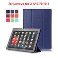 Para lenovo tab2 a10 70 tablet da tampa do caso para lenovo Tab 2 A10-70F A10-70L A10-70 Tablet 10.1 PU Capa De Couro + Film + Stylus caneta
