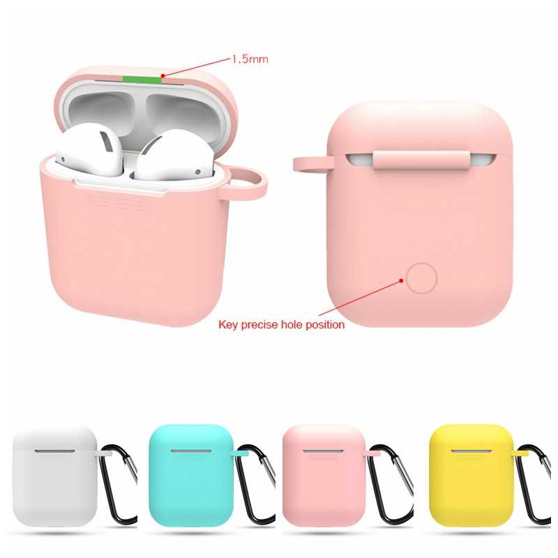 Soft Silicone Case For Apple Airpods Shockproof Cover for Airpods Bluetooth Earphones Cute Colorful Protection Cover With Hook
