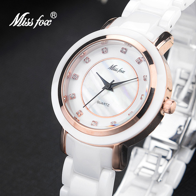 0ddb11f1df2 Senhorita Fox Branco Cerâmica Relógio de Forma Relógio Marca Subiu Relógio  De Ouro Mulheres Presente Cerâmica