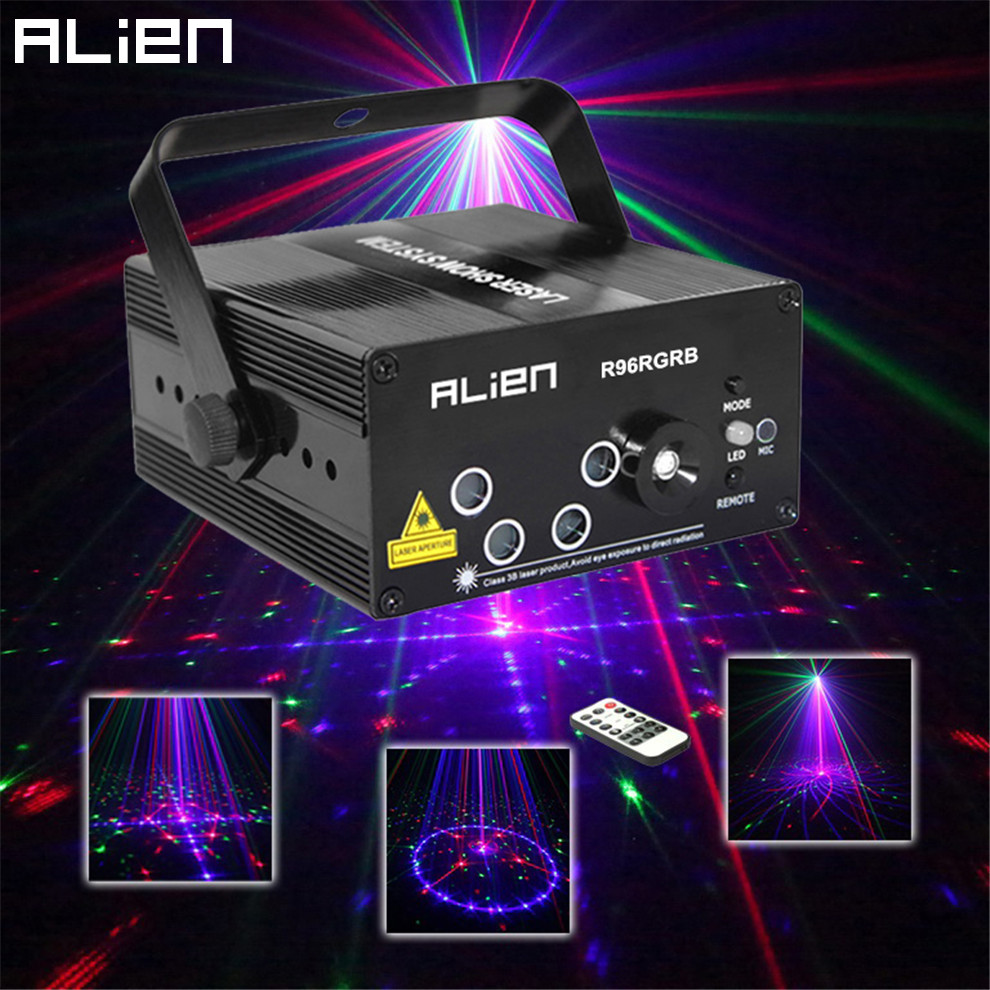 ALIEN New 96 Patterns RGB Mini Laser Projector Light DJ Disco Party Music Laser Stage Lighting Effect With LED Blue Xmas Lights mini 300mw rgb laser stage lighting effect red green blue mixing dj disco light bar party xmas laser projector show lights