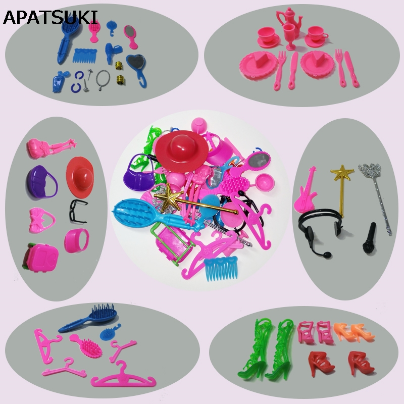 50pcs/set Kids Toy Doll Accessories For Barbie Doll House Mix Style (Necklace headbag Shoes Mirror Comb Guitar ) Girl's Gift