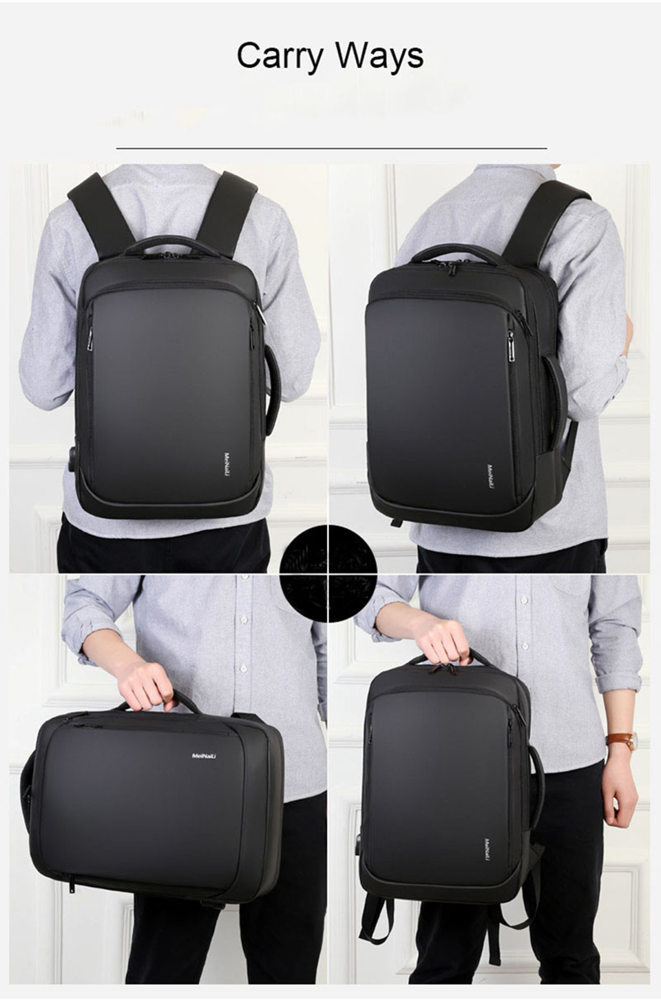 17 Inch Laptop Backpack 15.6 Mens Male Backpacks Business Notebook Mochila Waterproof Back Pack USB Charging Bags Travel Bagpack (12)