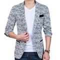 Korean Hitz small suit slim fit fashion cotton blazer Suit Jacket black blue beige  blazers Mens coat  jacquard
