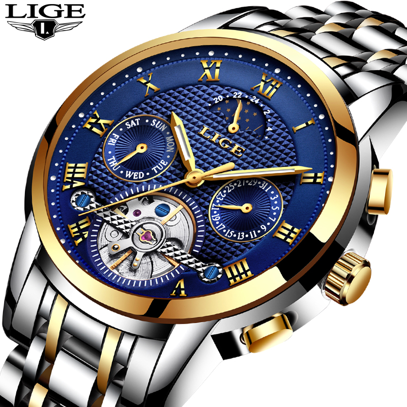Mens Watches Top Brand LIGE Luxury Automatic Mechanical Watch Men Full Steel Business Waterproof Sport Watches