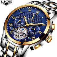 Mens นาฬิกาแบรนด์ LIGE Luxury Automatic Mechanical นาฬิกาผู้ชายกันน้ำกีฬานาฬิกา Relogio Masculino