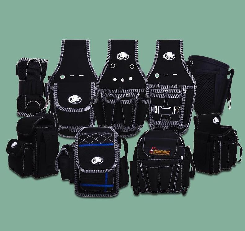 Work Waist Bag Tool Storage Bag Electrician Carpenter Contractor Technicians Tool Bag Pouch Pocket Bucket Tote Waterproof Black