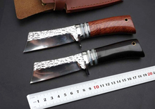 Ebony / Rosewood Handle Forge Handmade Knife Hunting Fixed Knife 9CR18MOV Blade Outdoor Survival Knives Camp Rescue Tools New