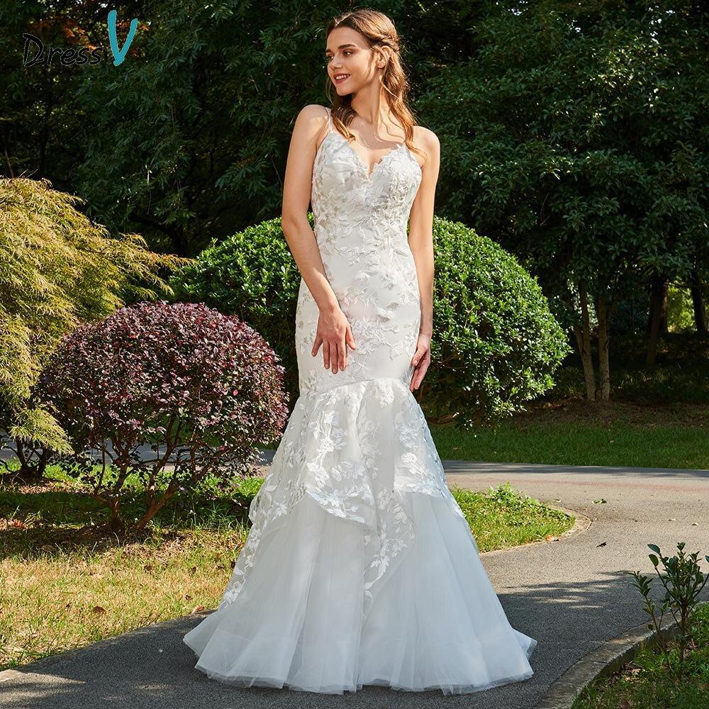 Dressv ivory wedding dress v neck spaghetti straps mermaid bridal backless elegant outdoor&church lace trumpet wedding dresses