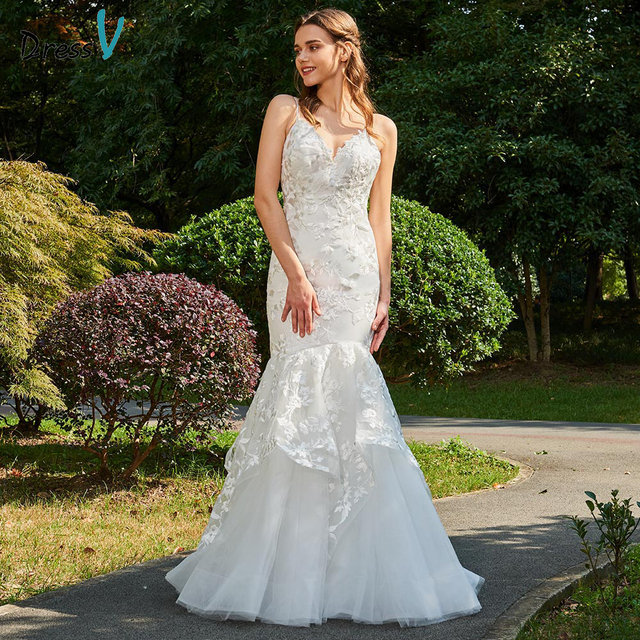 Dressv ivory wedding dress v neck spaghetti straps mermaid bridal backless  elegant outdoor church lace trumpet wedding dresses 1cfd2e47d819