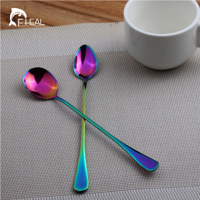FHEAL 1pc Stainless Steel Rainbow Coffee Spoons Long Handle Mixing Stirring Tea Spoons Dinnerware set Christmas Gift