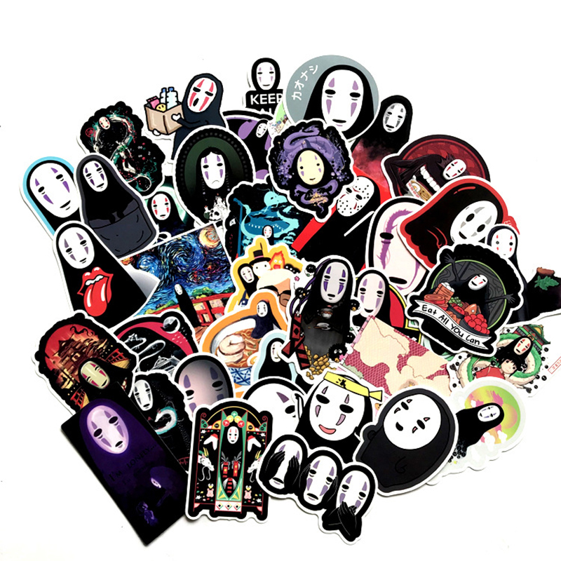 40Pcs Spirited Away No Face man Series Classic Stickers For Backpack Notebook Skateboard Bicycle Car Moto Waterproof Decal Toy image