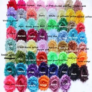 Image 2 - 15 10yards/lot, 2.5 polegada gasto chiffon flores, bonito chiffon rosa flores para headband headwear acessórios de moda 108 cores