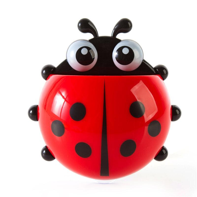 OUNONA Cute Cartoon Ladybug Toothbrush Holder Cartoon Tortoise Bathroom Accessory Wall Mount Toothpaste Holding Sucking Style
