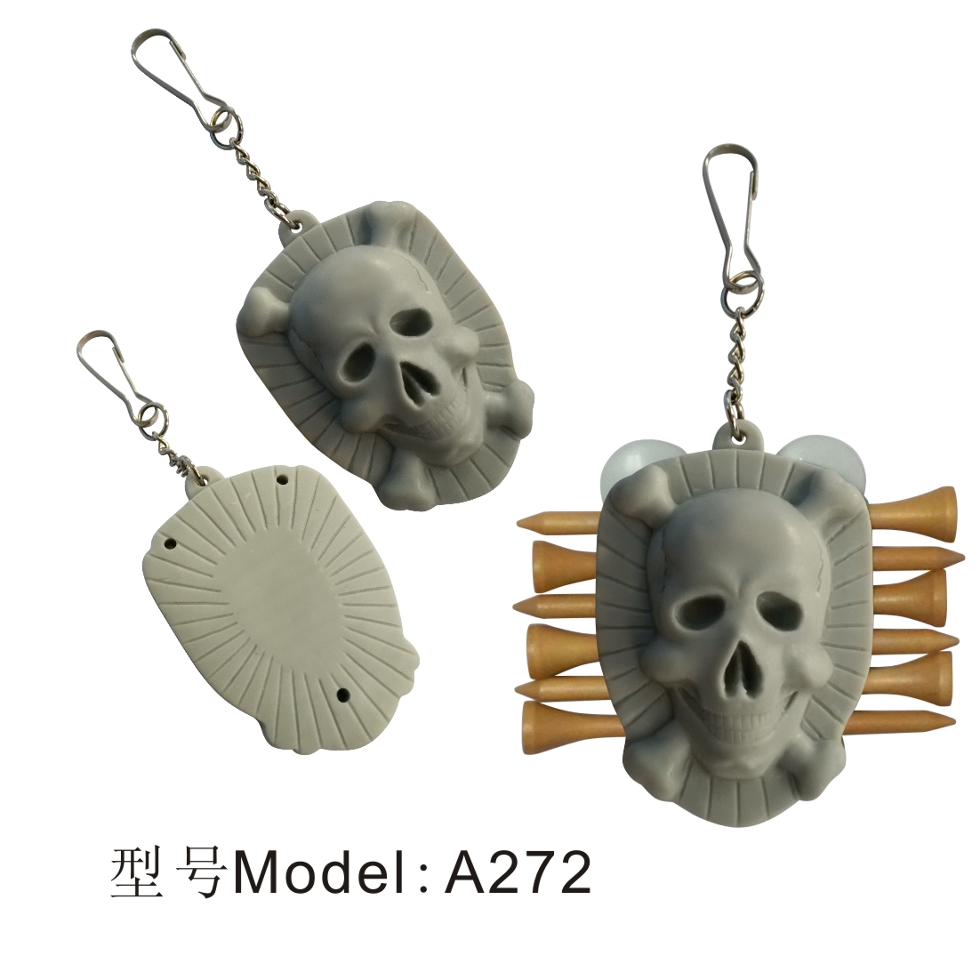 Outdoor Golf TeeSkull Golf Tees Holder Carrier 6 Wooden/Plactic Golf Tees With 3 Ball Markers And Keychain