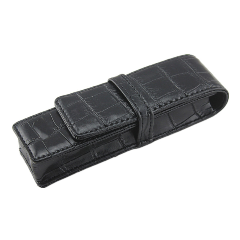 Luxury Black CROCODILE Pattern Leather Bag Office Special Pen Case For Two Pens Fountain Pen , Wholesale Price