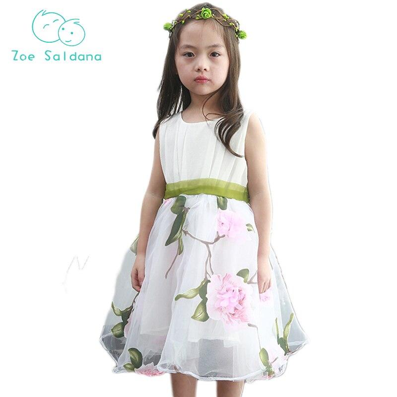 0a2e04d9c8a Ζωή Saldana 2018 Παιδικά Ρούχα Floral Printed Φορέματα Princess ...